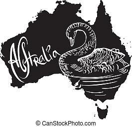 símbolo, cisne, negro, australiano