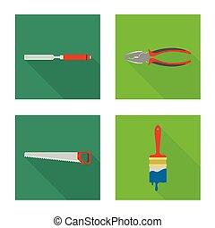 símbolo., colección, illustration., vector, reparación, diseño, casa, herramienta, acción