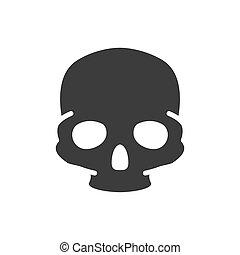 símbolo, coloreado, hueso, cráneo, icon., cabeza humana, estructura