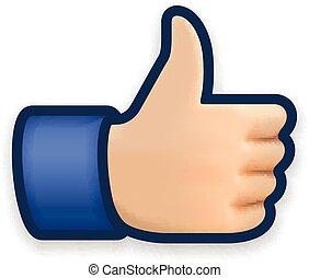 símbolo, como, pulgar, icono, arriba, emoji