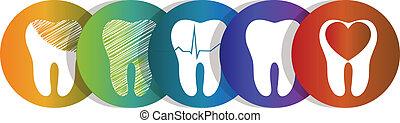 símbolo, conjunto, diente