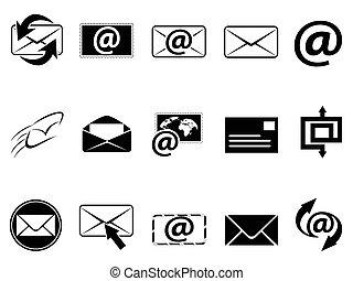 símbolo, conjunto, email, iconos