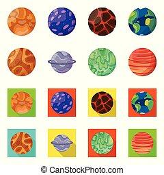 símbolo., cosmos, diseño, órbita, símbolo, galaxia, web., acción, colección, vector