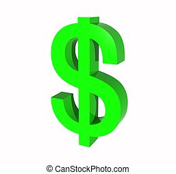 símbolo, dólar, nosotros, 3d