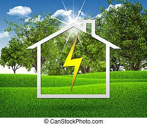 Símbolo de electricidad y casa