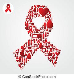 símbolo de sida, cinta, rojo, iconos