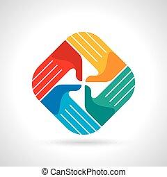 Símbolo de trabajo en equipo. Manos multicolores