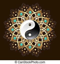 Símbolo de yin yang mandala