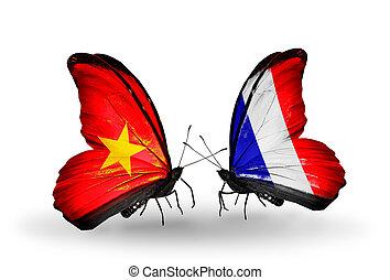 símbolo, dos, relaciones, francia, mariposas, vietnam, banderas, alas