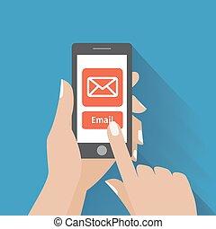 símbolo, email, teléfono, mano conmovedora, pantalla, elegante