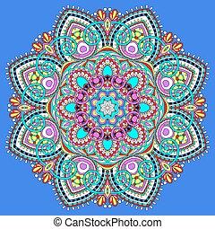 símbolo, espiritual, indio, decorativo, círculo, mandala, loto, flujo