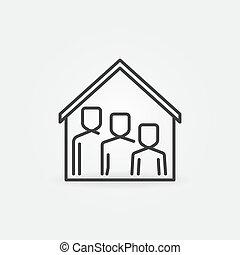 símbolo, familia , techo, icon., línea, casa, estancia, hogar, vector, debajo