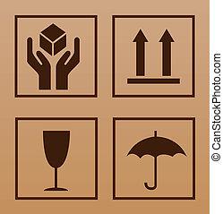 símbolo, frágil, cartón