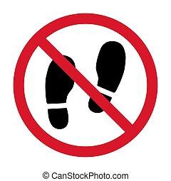 símbolo., gráfico, blanco, fondo., señal, ilustración, no, shoes, aislado, advertencia, vector