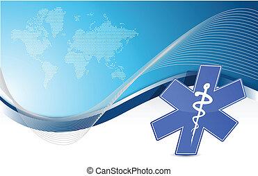 Símbolo médico: fondo de onda azul