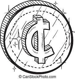símbolo moneda, vector, centavo, moneda