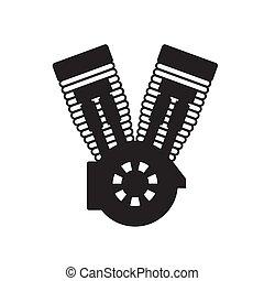 símbolo, motocicleta, motor, aislado, fondo., silueta, vector, imagen, blanco
