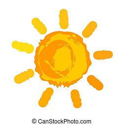 símbolo, naranja, painted., sol