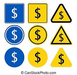 símbolo, negro, moneda, dólar, ilustración, icono, vector, fondo., blanco