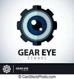 símbolo, ojo, engranaje, icono
