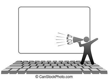 símbolo, ordenador teclado, megáfono, blogs, hombre