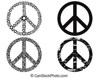 símbolo, paz, negro