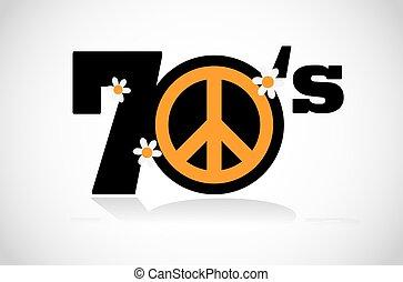 símbolo, paz, seventies
