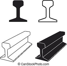 símbolo, perfil, pista, carril, acero, tren