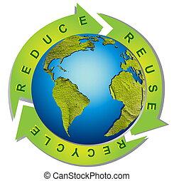 símbolo, reciclaje, -, ambiente, limpio, conceptual