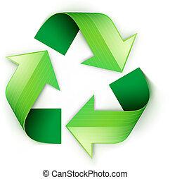 símbolo, reciclaje, verde