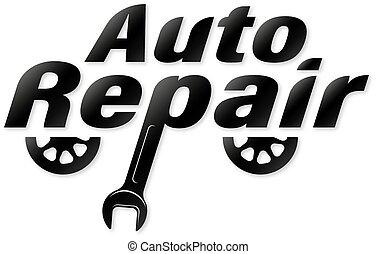 símbolo, reparación, servicio, automóvil