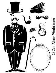 símbolo, retro, negro, accessories., traje, aislado, vector, diseño, caballero