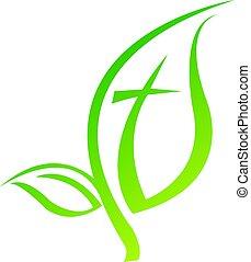 símbolo, vector, cruz, logotipo, design., icono religioso, hoja