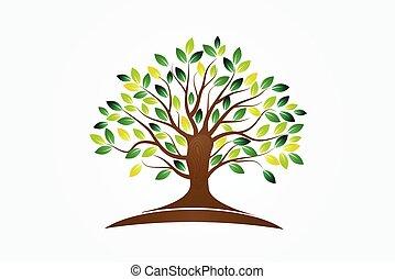 símbolo, vida, logotipo, árbol, vector