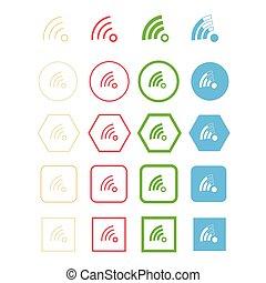 símbolo, wi - fi, icono