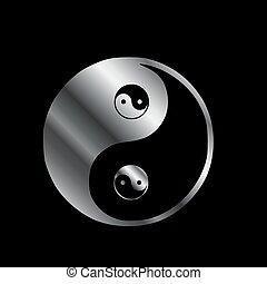 símbolo, yang de ying, balance-, armonía, mal, bueno