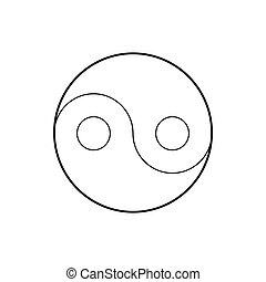 símbolo, yang, yin, estilo, icono, contorno