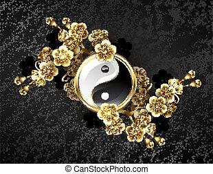símbolo, yin, dorado, sakura, yang
