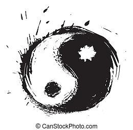 símbolo, yin-yang, artístico