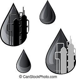 símbolos, aceite, gasolina