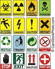 símbolos, advertencia, útil