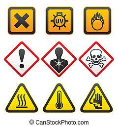 símbolos, advertencia, -, peligro, señales