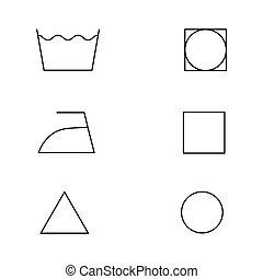 símbolos, blanco, aislado, lavadero, vector
