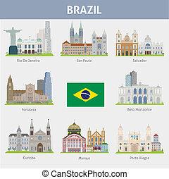 símbolos, brazil., ciudades