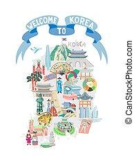 símbolos, cinta azul, corea, icono, cartel, mapa, mano, bienvenida, dibujo