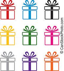 símbolos, colorido, regalo, vector, caja