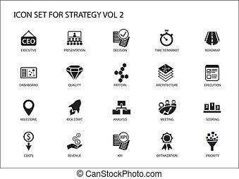 símbolos, como, renta, estrategia, icono, estratégico, temas, vario, set., optimization, costes, hito, tablero de instrumentos, prioritization