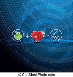 símbolos, concepto, cardiología, sano, brillante, vida