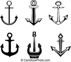 símbolos, conjunto, ancla