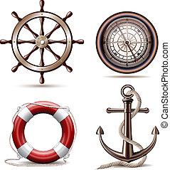 símbolos, conjunto, marina